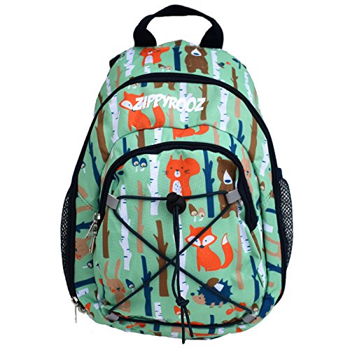 Price comparison product image ZippyRooz Toddler & Little Kids Extra SMALL Hiking Backpack for Boys Fun Woodsy Print with a Bear, Fox, Hedgehog, Rabbit & Trees (Woodland Creatures)