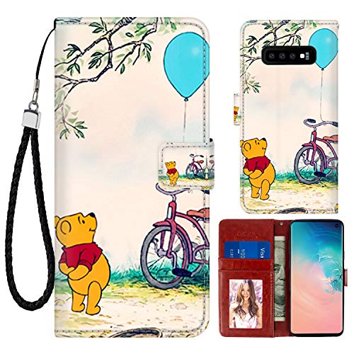 (DISNEY COLLECTION Wallet Case for Samsung Galaxy S10+ Winnie The Pooh Pattern Design Magnetic Closure [Stand Feature] Folio Flip Cover with Card Holder and Wrist Strap Protective Cover)