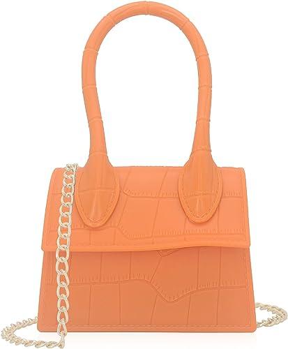 Mini Jelly Top Handle Handbag Croc Embossed PVC Women Crossbody Purse Styling Flap Bag