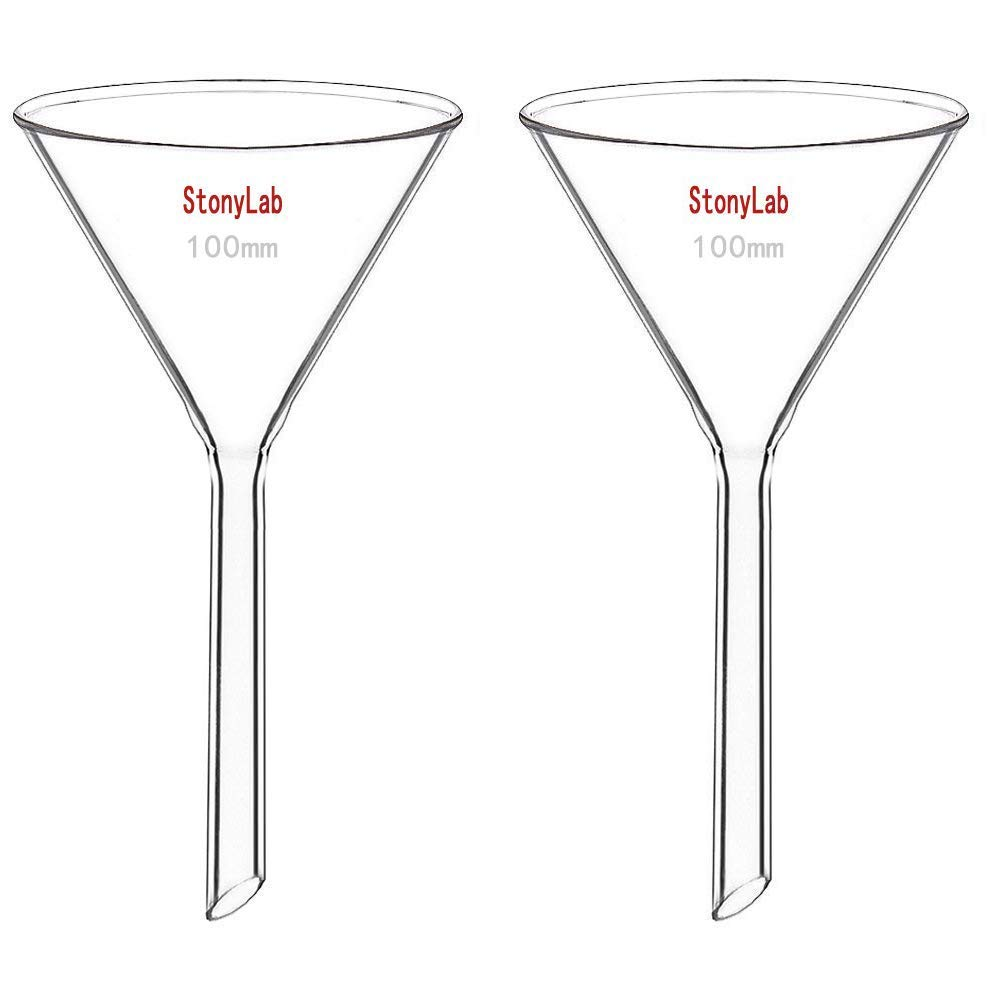 StonyLab 2-Pack Glass Heavy Wall Funnel Borosilicate Glass Funnel 100mm Diameter 100mm Stem Length