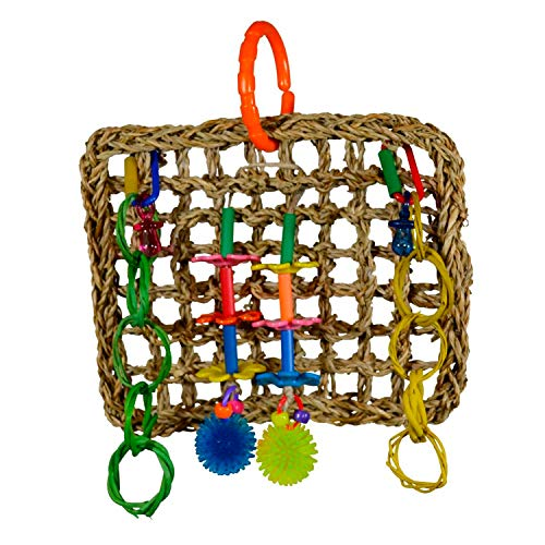 Super Bird Creations SB741 Seagrass Mini Activity Wall with Colorful Foraging Toys for Parrots, Medium Size, 9