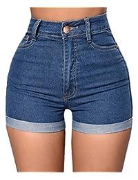 BAIFERN Womens High Waisted Shorts Stretch Denim Jeans with Pockets