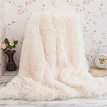 Faux Fur Throw Blanket Super Soft Long Shaggy Throw Blanket, Fur Faux Sherpa blanket Decorative Throw Blanket for Couch Light Weight Bed Shaggy Blanket (S: 51'' X 63')