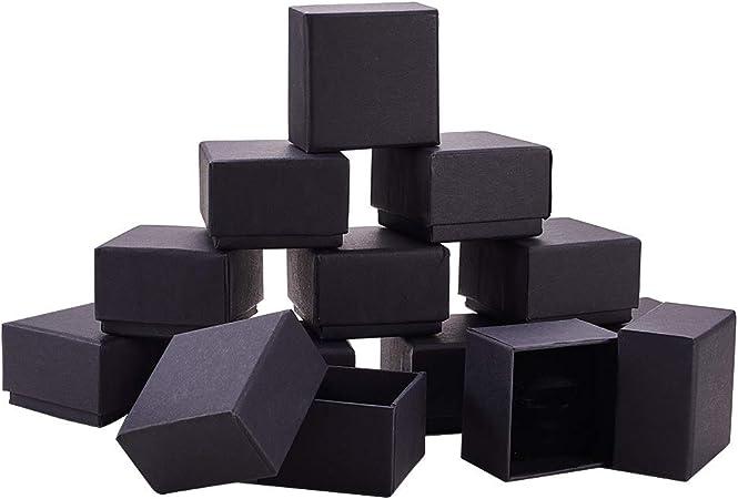 BENECREAT 24 Pack Negra Caja de Joya Caja de Cartón Craft con Almohadilla de Terciopelo Elegante para Presentación de Anillo 5.7x5.7x3.7cm: Amazon.es: Hogar
