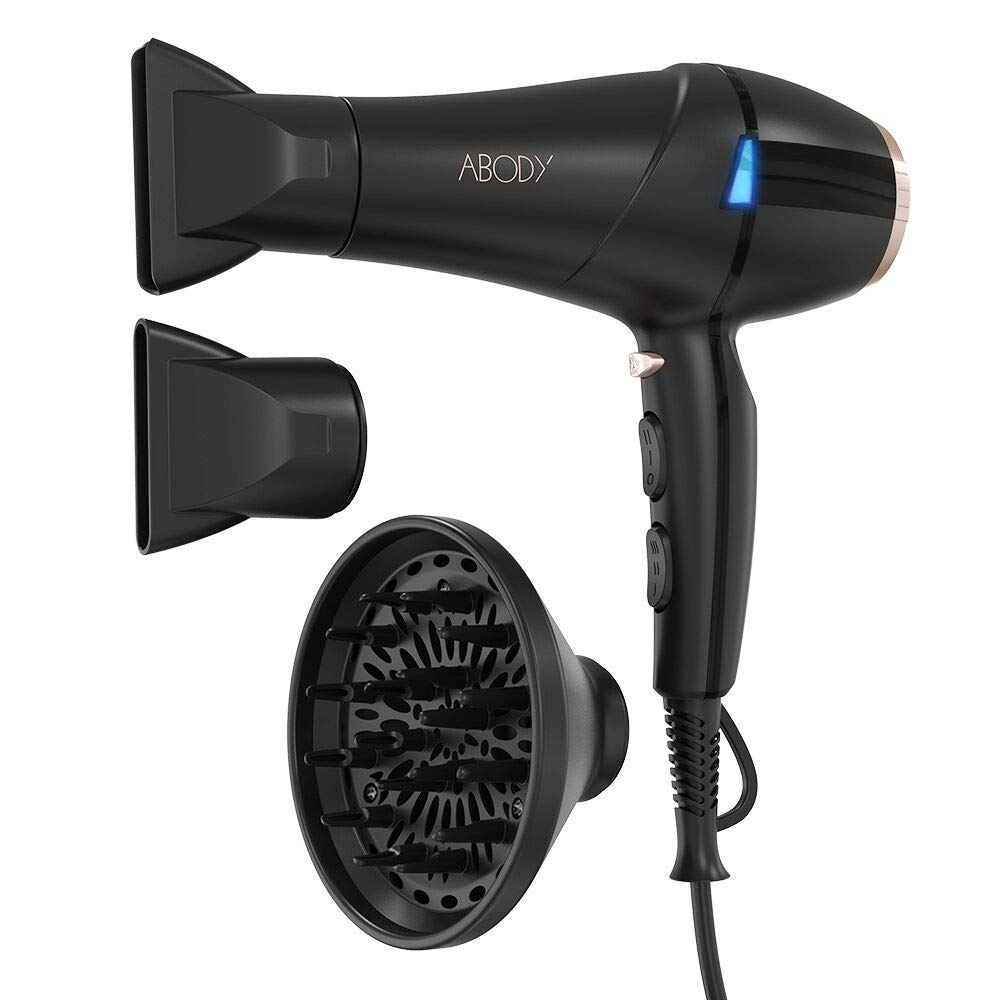 Abody Hair Dryer 2200W Ionic Professional Blow Dryer With 2 Speed, 3 Heat Settings and Cool Shot Button Black