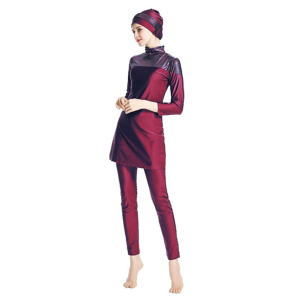 Mr Lin123 Modest Muslim Swimwear Islamic Swimsuit for Women Hijab Swimwear Full Coverage Swimwear Muslim Swimming Beachwear Swim Suit (Red, L)
