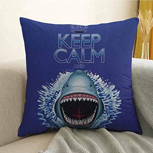 (Sea Animals Microfiber Keep Calm and Shark Jaws Attack Predators Hunter Dangerous Wild Aquatic Nature Sofa Cushion Cover Bedroom car Decoration W18 x L18 Inch Blue)