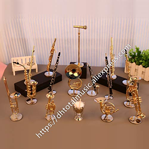 (ZAMTAC Dh Miniature Flute Clarinet Saxophone Trumpet Trombone French Horn Model Mini Musical Instrument Ornaments Gift and Decoration - (Color:)