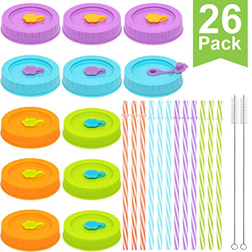 Straws For Mason Jars (Regular Mouth Mason Jar Lids with Straw Hole/Straws/Silicone Stoppers/Silicone Rings/Cleaning Brush, Plastic Canning Lids 26 Pack for Drinking & Food Storage, Rust-proof & BPA Free(Candy)
