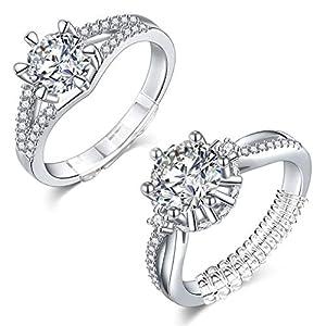 Eiito Ring Size Adjuster invisibile (bianco 14 pezzi), riduttore Ring Guard per anelli sciolti Snuggies (set di 7 misure)