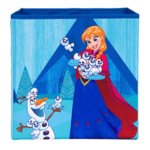 Frozen Anna and Olaf Collapsible Storage Bin by Disney - Cube Organizer for Closet, Kids Bedroom Box, Nursery Chest - Foldable Home Decor Basket Container with Strong Handles and Design (Storage Cube Olaf)