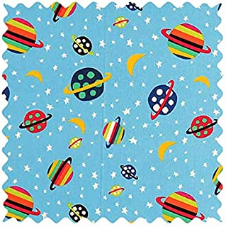 product image for SheetWorld 100% Cotton Percale Fabric by The Yard, Planets Blue, 36 x 44