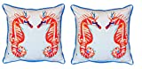 Pair of Betsy Drake Coral Sea Horses Large Indoor/Outdoor Pillows