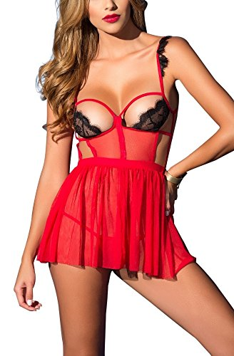 Ruffled Silk Camisole (AdoreBaby Sexy Women Cupless Lingerie Strappy Lace Dress Chemises Babydoll Sleepwear (S, Red))