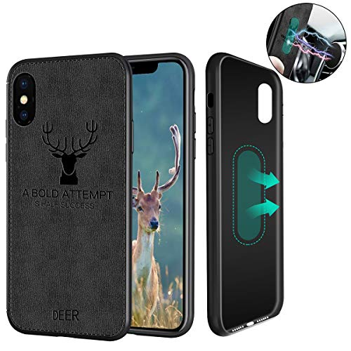 - Magnetic Case for iPhone XR, [for Magnetic Car Holder] [with Built-in Metal Plate], Ultra Slim Fabric & Silicone Deer Protective Phone Case for iPhone XR 6.1 Inch (Black)