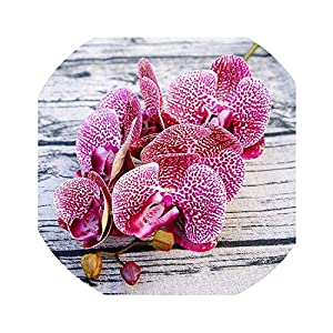 Zalin Artificial Butterfly Orchid Flowers Fake Moth Flor Orchid Flower for Home Wedding DIY Decoration Real Touch Home Decor Flore,Rose Red 93