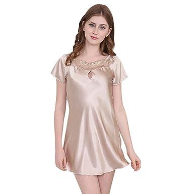 4b48fe9ded LANXI Women s Faux Silk Satin Short Sleeves Nightgown Sexy Sleep Skirt  Sleepwear (M
