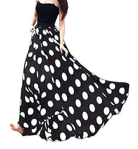 Afibi Women Chiffon Mopping Floor Length Big Hem Solid Beach High-Waist Maxi Skirt (X-Large, Black Dot)