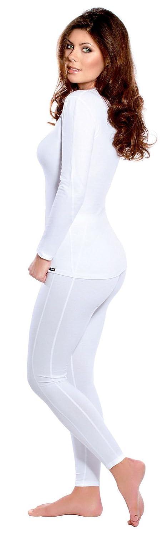 Thermo Unterwäsche Set für Damen lang - Damen Dryarn Thermo Funktionswäsche Skiunterwäsche Set (Shirt lang + Hose lang) weiss