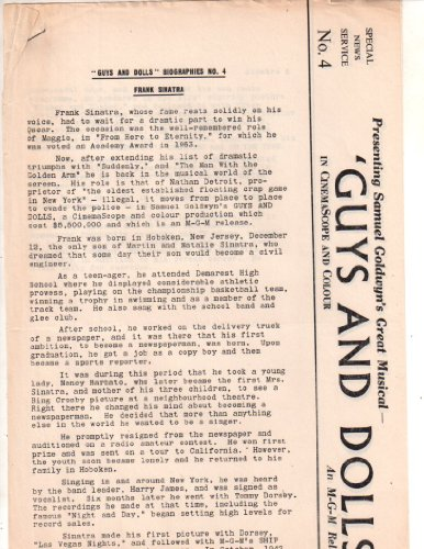 Guys and Dolls Press Release original Clipping Magazine Photo 2page 8x10 ()