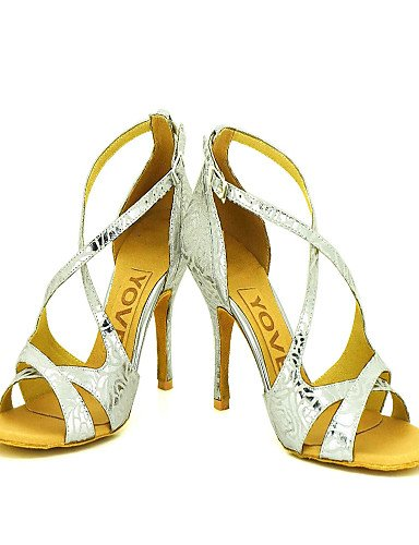 La mode moderne Sandales femmes personnalisables Chaussures de danse de bal latino/talon de stylet similicuir argent,argent,US8/EU39/UK6/CN39