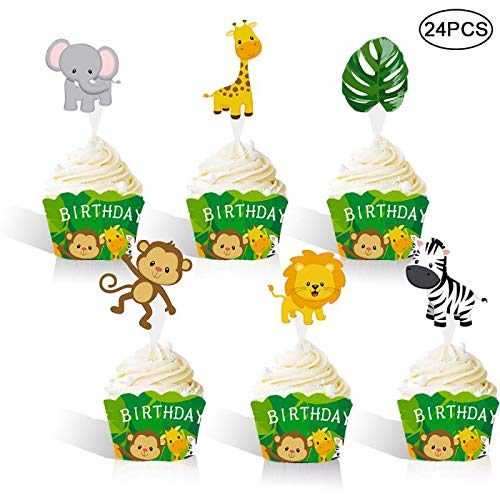 RainPeach Woodland Jungle Animals Happy Birthday Cupcake Wrappers Toppers Picks Kids Party Cake Decorations Pack of 24]()