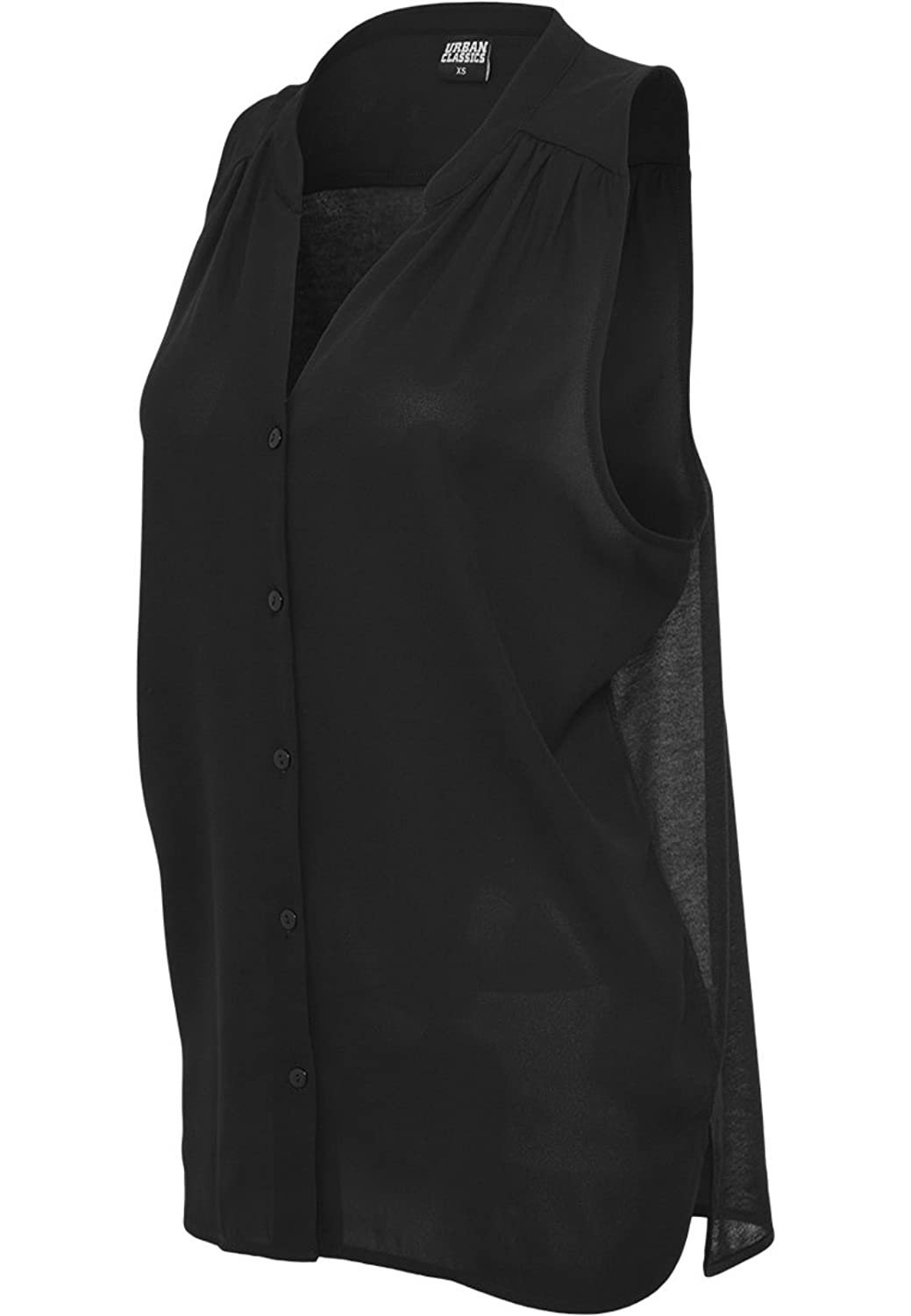 URBAN CLASSICS - Ladies Sleeveless Chiffon Blouse (black)