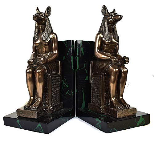 COMLZD Anubis Bookends Egyptian Dog Head Person Statue Vintage Book Holder Heavy Duty Figurine Desktop Decor Set of 2