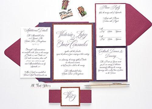 Elegant Glitter Wedding Invitation, Formal Wedding Invitation Set, Fancy Wedding Invite, SAMPLE VICTORIA, Foil Wedding Suite (Set Invitation Wedding Formal)