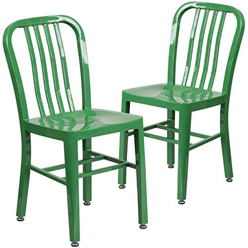 Flash Furniture 2 Pk. Green Metal Indoor-Outdoor Chair