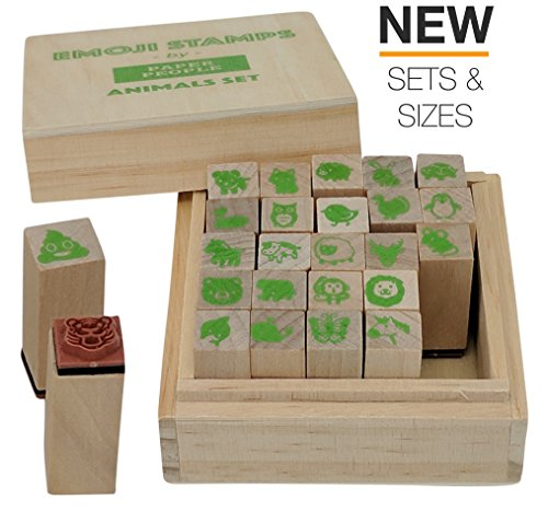 Emoji Animal Stamps 25 Pc Wood/Rubber Stamper Set - Cute Animal Gifts, Perfect for Animal Lover, Small Animal Stamps Include: Farm Animal, Jungle, Zoo, Dog, Cat, Owl, Monkey, Unicorn, Poo Stamps