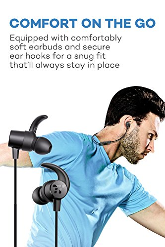 TaoTronics Bluetooth Headphones, Sweatproof Wireless In Ear Earbuds, Sports Magnetic Earphones with Built in Mic (IPX5 Splash Proof Rating, aptX Stereo, Up to 7 Hours of Talk Time, Ceramic Antenna)
