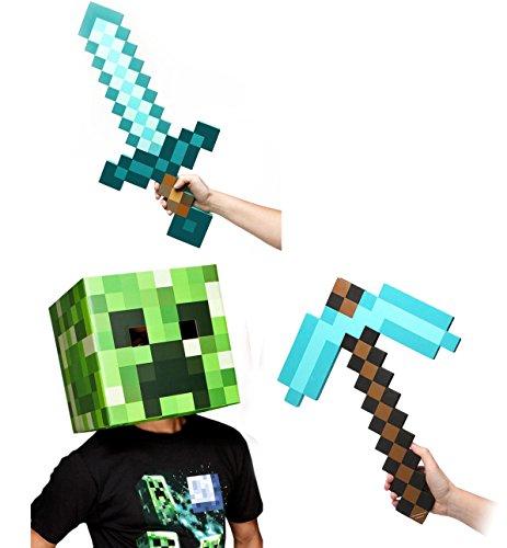 [Minecraft Creeper Head, Diamond Sword & Pickaxe Costume Set] (Adult Minecraft Costumes)