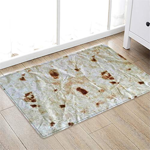 Creative Anti-Slip Rug Carpet Bath Flannel Mat Non Slip Absorbent Taco Burrito Pattern Super Cozy Bathroom Rug Carpet 50x80cm ()