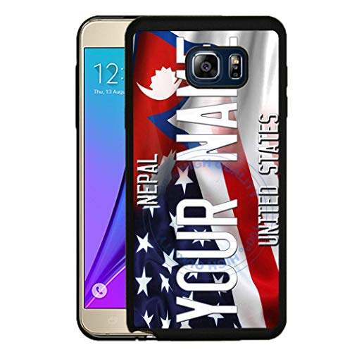 BRGiftShop Personalize Your Own Mixed USA and Nepal Flag Rubber Phone Case For Samsung Galaxy S8