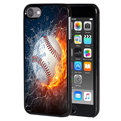 iPod Touch 6 case,AIRWEE Slim Back Cover Hard Plastic Protector Case Stylish Design for Apple iPod Touch 6th Generation - Ice and Fire Baseball