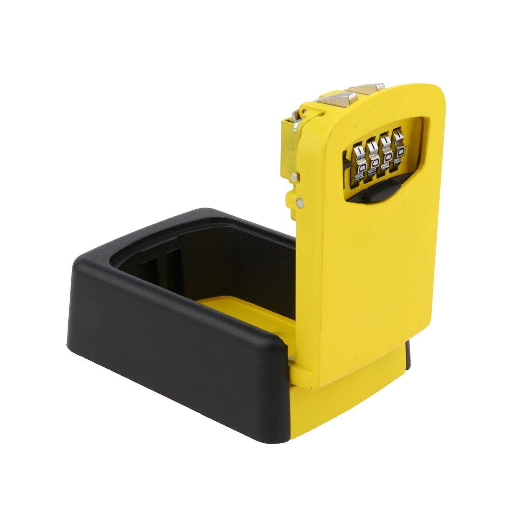Homyl Combination Key Lock Box Wall Mount 4 Digit Resettable Code Key Storage Box - Yellow, as described