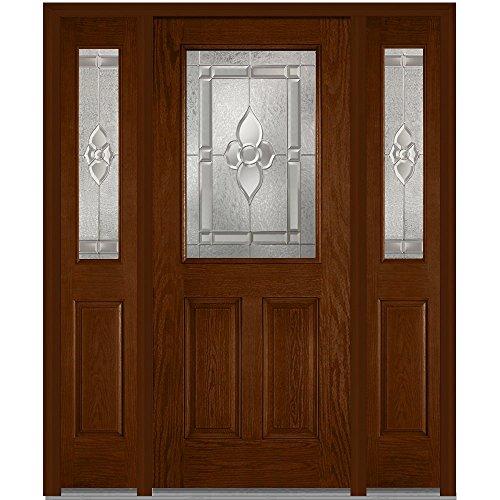 National Door Company Z014080R Fiberglass Oak, Warm Chestnut, Right Hand In-swing, Exterior Prehung Door, Master Nouveau 1/2 Lite 2-Panel, 36''x80'' with 12'' Sidelites by National Door Company