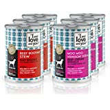 """I and love and you"""" Beef Booyah Stew & Moo Moo Venison Stew Grain Free Canned Dog Food, 13 oz (Pack of 6)"""