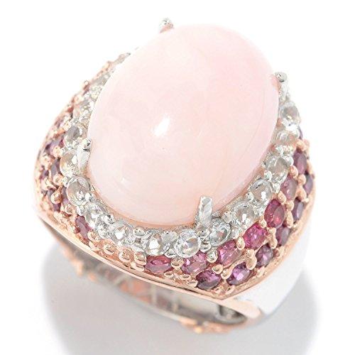 Michael Valitutti Palladium Silver Pink Opal & Multi Gemstone Halo Ring