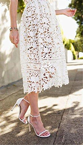 Yogly Aiguille Chaussures Talon Sandales Cheville High Blanc Femme Soiree Club Escarpins Heels Bride Sexy rwUrYq4