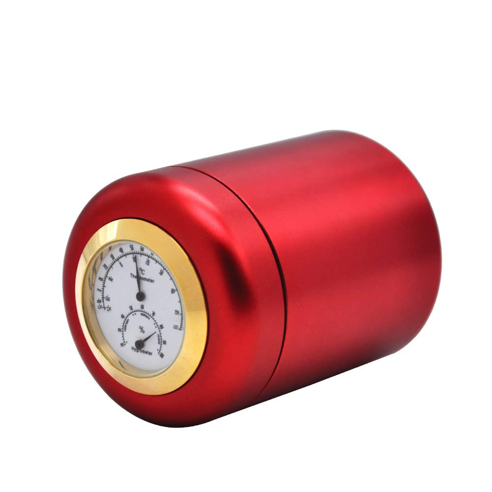 HONEYPUFF Aluminum Stash Jar With Thermometer & Hygrometer Airtight Water Proof/Smell Proof Aluminum Herb Container Bottle (Red)