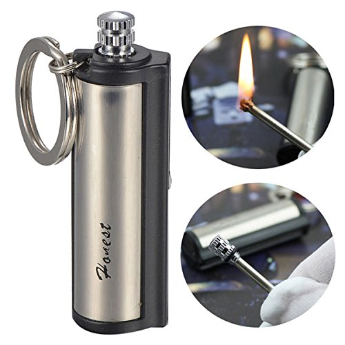 HONEST Safety Stylish Luxurious Wind Proof Permanent Match Striker Cigarette Lighters w/ Key Chain - Silver