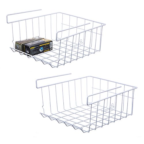 Wire Stackable Basket - NoRi Stackable Hanging Basket, 2-Pack Under Shelf Hanging Metal Wire Storage Basket for Kitchen, Office, Pantry, Bathroom, Cabinet