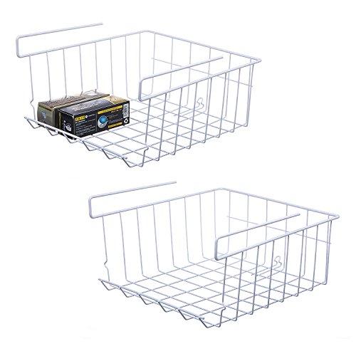 - NoRi Stackable Hanging Basket, 2-Pack Under Shelf Hanging Metal Wire Storage Basket for Kitchen, Office, Pantry, Bathroom, Cabinet