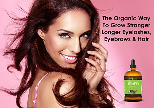 Organic Castor Oil By Sky Organics, Cold-Pressed, 100% Pure, Hexane-Free Castor Oil - Dry Skin, Hair Growth, Eyelashes growth and eyebrows growth- Caster Oil Lash Enhancer with Mascara Brushes (30ml) by Sky Organics (Image #2)