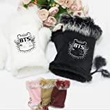 Kpop BTS Gloves Bangtan Boys Support Plush Gloves Winter Warm Gloves (Black)