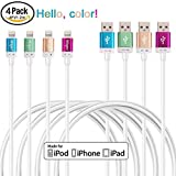 Miger [Apple MFI Certified ] 4Pack 4Ft/1.2m Lightning to USB Cable & Sync Charge Data Cable for iPhone 6s 6 Plus 5 5s 5c, iPad Air, iPad mini, iPod Touch (Blue+Gold+Green+Red)