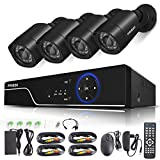 FREDI Security Camera System 8-Channel HD-TVI 1080P Lite Video Security System DVR and (4) 2.0MP Indoor/Outdoor Weatherproof Cameras with IR Night Vision LEDs- WITHOUT HDD