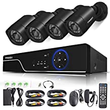 FREDI Security Camera System 8-Channel HD-TVI 1080P Lite Video Security System DVR and (4) 1.0MP Indoor/Outdoor Weatherproof Cameras with IR Night Vision LEDs- WITHOUT HDD